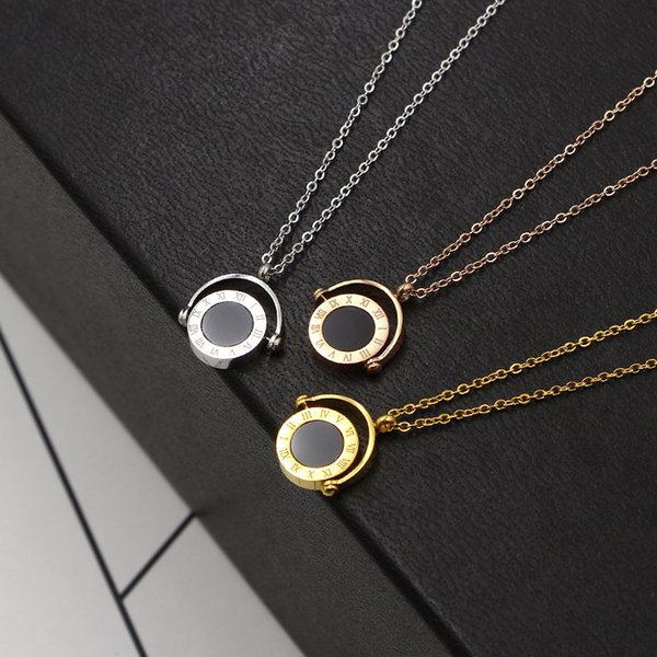 2019 New South Korea Half Circle Black and White Double Shells of Rome Digital Boys Girls Pendant Necklace Titanium Steel Chain