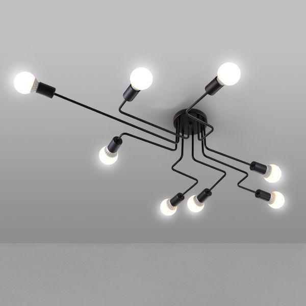 Fer noir 4/6/8 embranchement branchez lustre moderne de lustre de la lumière 220v de lustre de salon éclairant