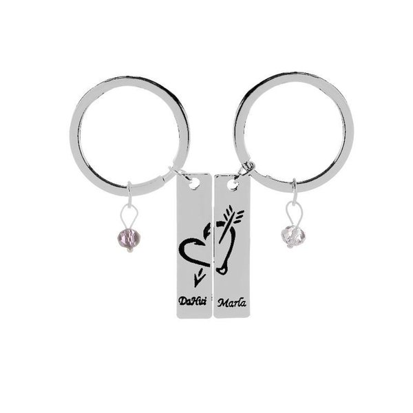 2pcs/set New Couple keychain Fashion Lovers letter Charms An arrow through a heart Key Rings for Valentines Gift Jewelry