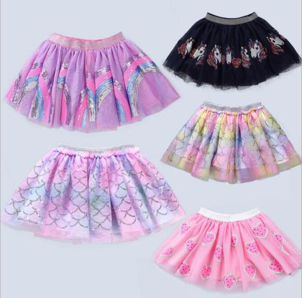 Kids Baby Tutu Skirt Pettiskirt Ballet Fancy Costume Colorful Tutu Skirt Girls Rainbow mermaid unicorn ins dress LJJK1527