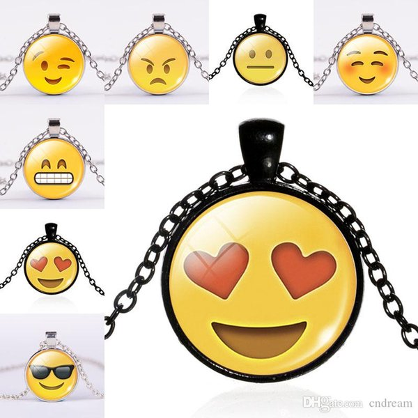 Emoji Necklace Grimacing Heart Eyes Winking Cool Laughing Smile Kiss Glass Cabochon Necklaces for women men kids Jewelry Gift AA42