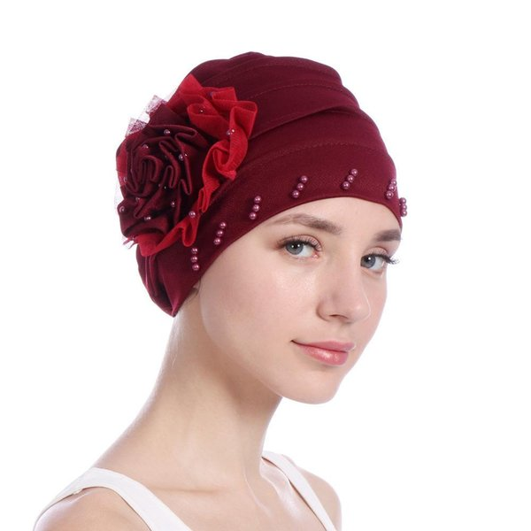 New Pattern Side Discoid Gauze Lace Package Edge Nail Pearl Muslim Baotou Cap Solid Color Scarf Hat