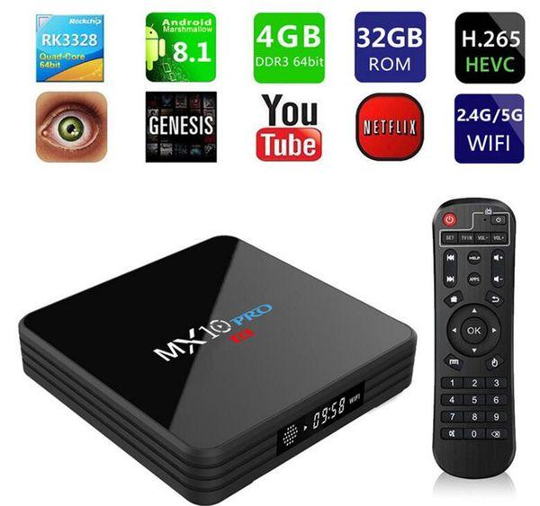 MX10 PRO TV Kutusu Android 8.1 Dijital Ekran Ile 4 GB 32 GB Rockchip RK3328 SB 3.0 WiFi BT4.1 HD 4 K 2.4G 5G WiFi Medya Oynatıcı Quad Core DHL
