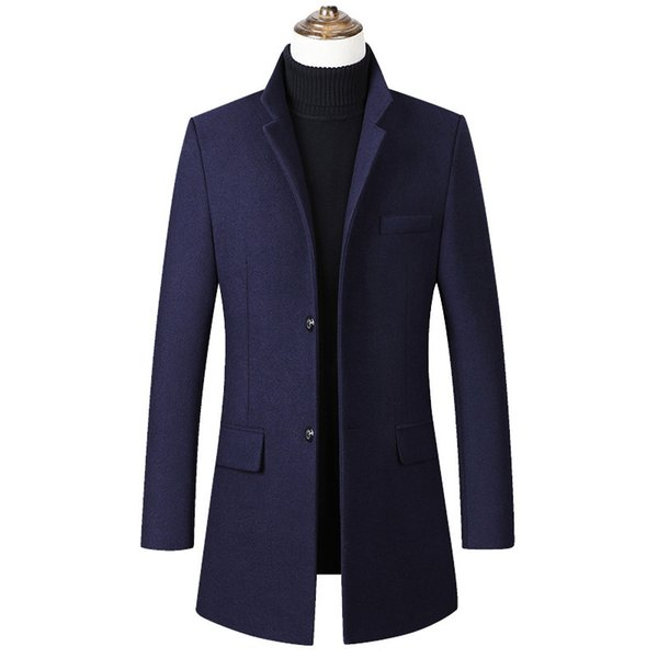 Dropshipping Men Wool Coat Men's Fashion Autumn Jacket Coat Casual Stand collar Overcoat Mens Long Woolen Outerwear Male Clothes