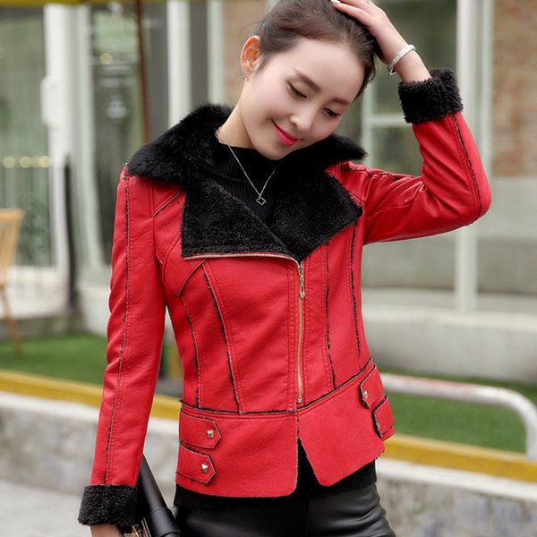 High Quality Winter Artificial Leather Jacket cony hair Fur-neck Short Jacket Especially Female Coat Women Motorcycle