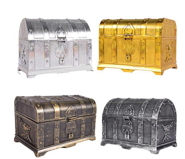 Pirate Coffre Au Trésor Coffre Au Trésor Souvenir Boîte à Bijoux En Plastique Jouet Coffrets Au Trésor Vintage Party Decor cadeaux