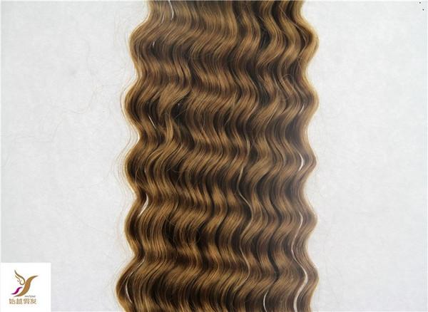 Cor Marrom escuro 100% Feixes de Cabelo Humano Peruano Onda Profunda Tecelagem Tecelagem 1 Peça / 100g Extensões de Cabelo Virgem Não Transformados