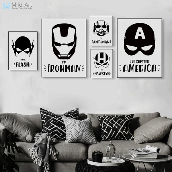 oster print Black and White Superhero Avengers Mask Batman Movie Posters Prints Nordic Boy Kids Room Decor Wall Art Pictures Canvas Paint...