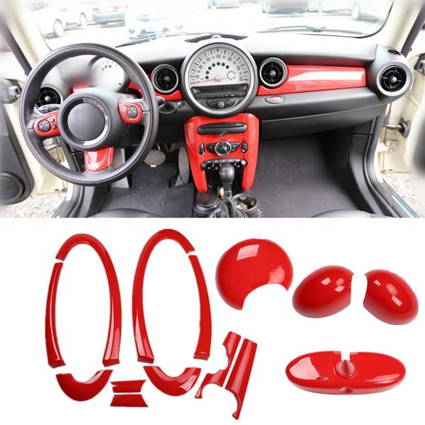 ABS Красный Автомобиль Украшение Интерьера Зеркало Заднего Ворота Ручка Крышки Дверной Панели Приборной Панели Центральная Консоль Молдинг для Mini Cooper R55 R56