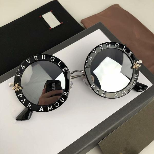Moda all'ingrosso 0113 Occhiali da sole Montature da donna Occhiali da sole neri Scudo di metallo Occhiali da sole con montatura in oro Occhiali da vista neri Nuovo stile Moda