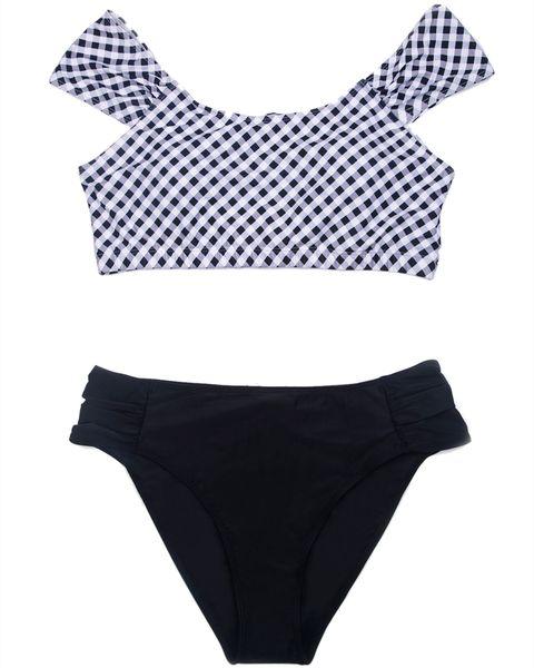 Plus Size Bikini Set Pad Womens Black White Grid Print Swimsuit Sexy Swimwear Tankini Top Briefs Bottom Off Shoulder Two Piece Bathing Suit