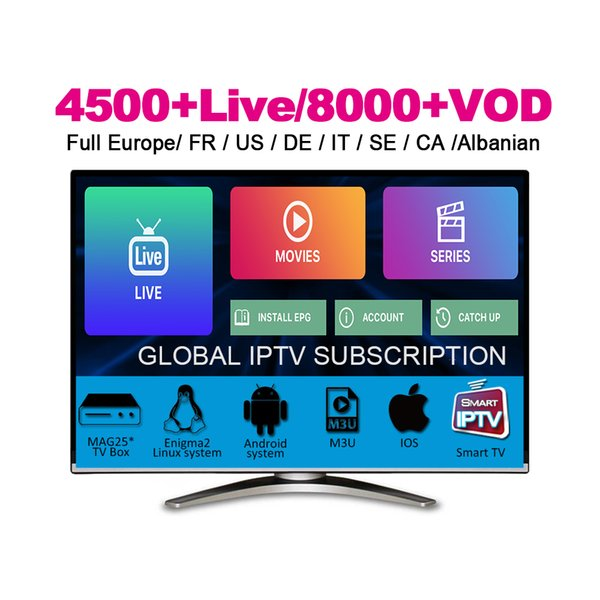 top popular 4500+ Live&VOD abonnement IPTV Subscription French Portugal Germany Italia ireland Footbal Sport ptv For New Movie Android TV Box Phone M3U 2019