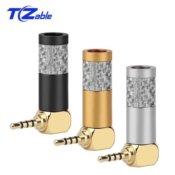 10 stücke 2,5mm Männlichen Hifi Kopfhörer Audio Stecker Stereo Jack 90 Grad Adapter Kohlefaser Vergoldet Stecker Kopfhörerkabel DIY Adapter2,5mm