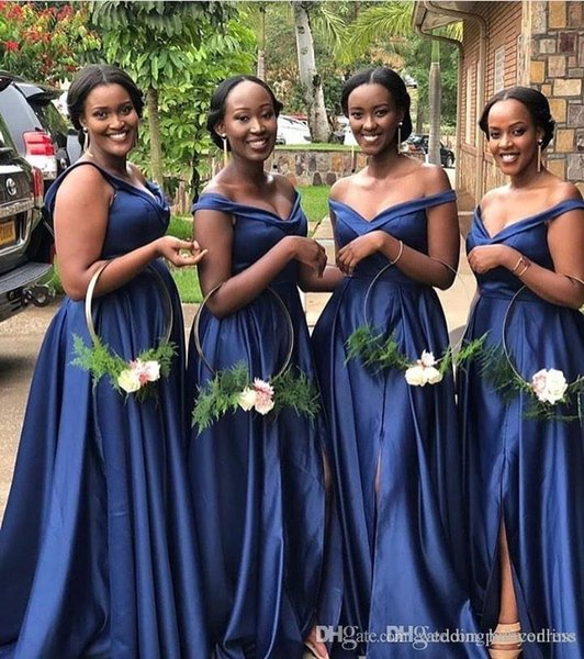 Taille élégante Bleu African Royal et une ligne de demoiselle d'honneur robes épaules haute fendus Longueur étage Invité de mariage soirée de bal Robes