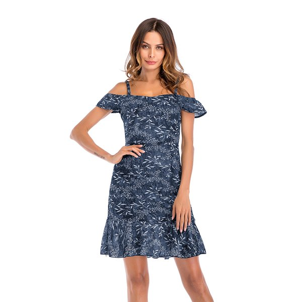 2019 summer women's new chiffon dress Europe and the United States ruffled off-the-shoulder floral dress skirt free postal