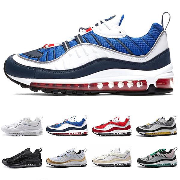 Купить Оптом Nike Air Max 98 Shoes 2019 Designer Men Running Shoes Gundam Triple Black White Cone Tour Yellow Red Newest Mens Casual Sports Trainers