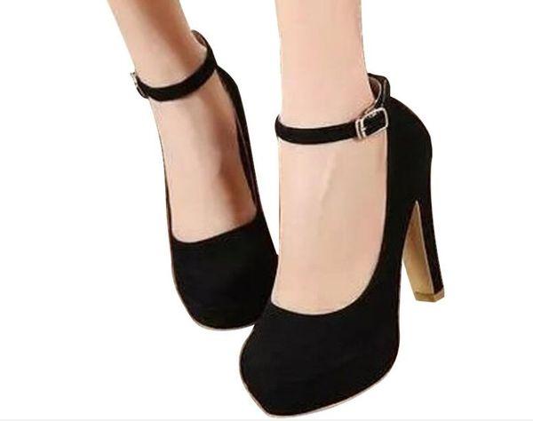 Moda Kırmızı siyah kadın sonbahar kalın topuk ayakkabı Pompaları yüksek topuklu ayakkabılar kadın eğilim ultra yüksek topuklu kadın ayakkabı