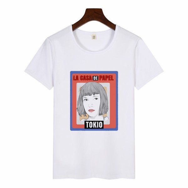 Nouvel argent Heist Imprimer Tshirt La Maison De Papier La Casa De Papel Tees Femmes D'été Harajuku Casual Dali Masque T-shirt Streetwear