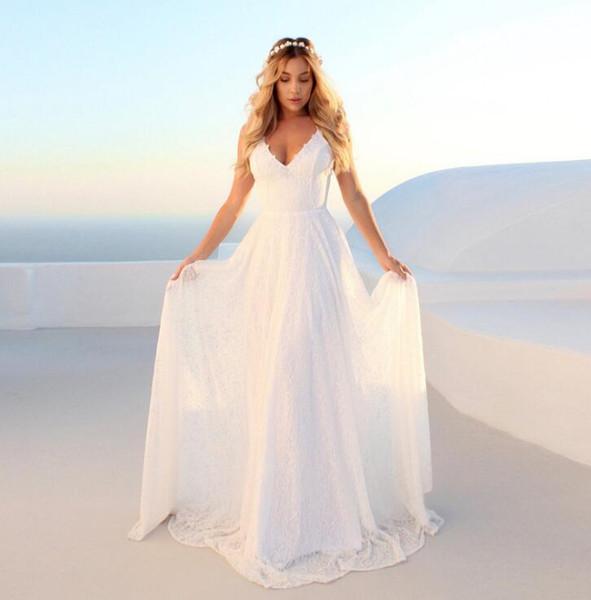 L'Europe et les États-Unis nouvelle jupe longue 636 en dentelle blanche robe sexy v-cou