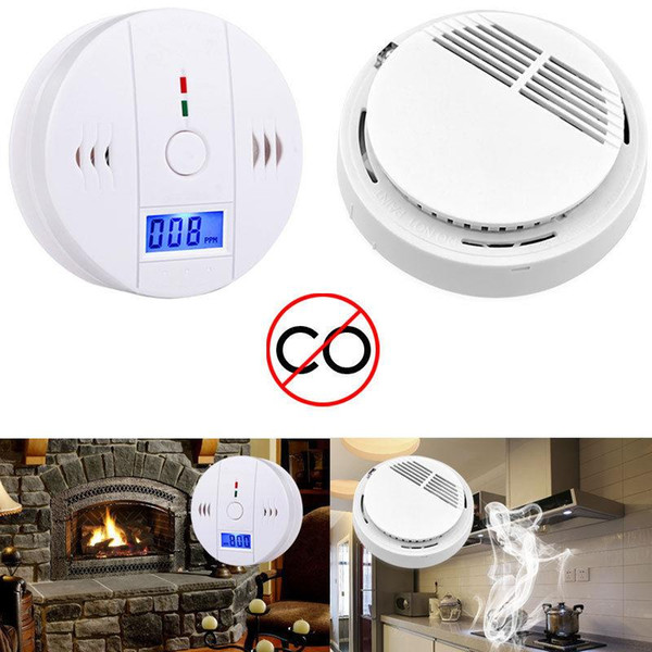 CO Carbon Monoxide Tester Alarm Warning Sensor Detector Gas Fire Poisoning Detectors LCD Display Security Surveillance Home Safety Alarms