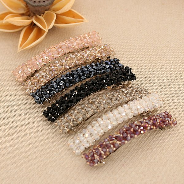 1PC 7 Colors Fashion Women Girls Bling Crystal Hairpins Headwear Rhinestone Hair Clips Pins Barrette Styling Tools Accessories C19010501
