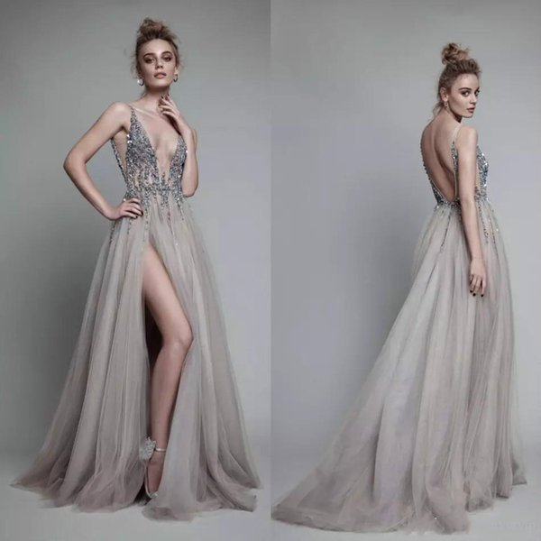 Designer Berta Beach Wedding Dresses Aline 2019 Sexy Side Slit Backless Straps Top Major Beaded Sequins Pearl Holiday Bohemian Bridal Gowns