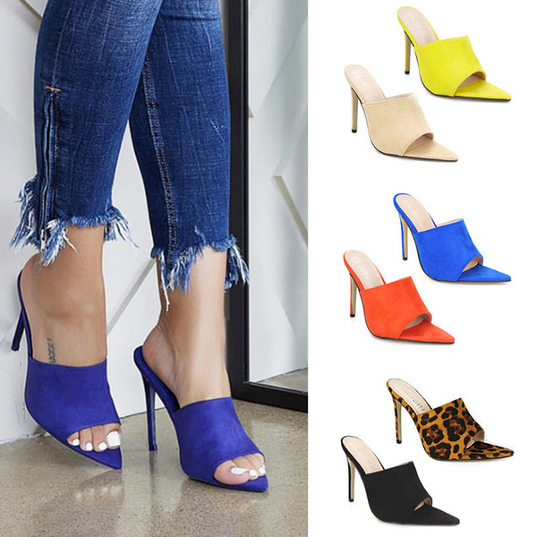 Women's Heels Shoes High Heel Slippers Women Pumps Big Large Size Pointed Toe Ladies Female Slides Fashion Lady Woman Shoes