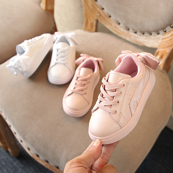 Autumn 2018 New girls shoes genuine leather Fashion bowknot kids casual shoes sneakers 1-6 years old Non-slip Super soft
