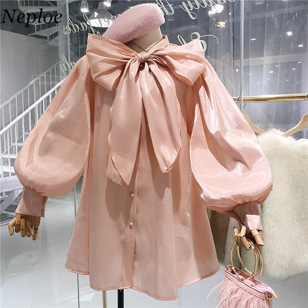 wholesale 2018 Spring Summer New Bow Lacing Women Blouse Long Sleeve Button Shirts Korean Fashion Female Blusas