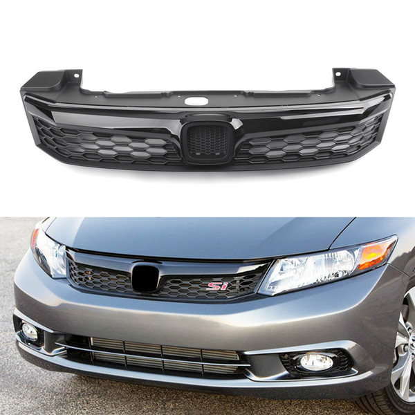 top popular Areyourshop SI Style Front Conversion Bumper Grille For Honda Civic 2012 Sedan 4Doors Black Front Bumper Grille Car Auto Parts 2021