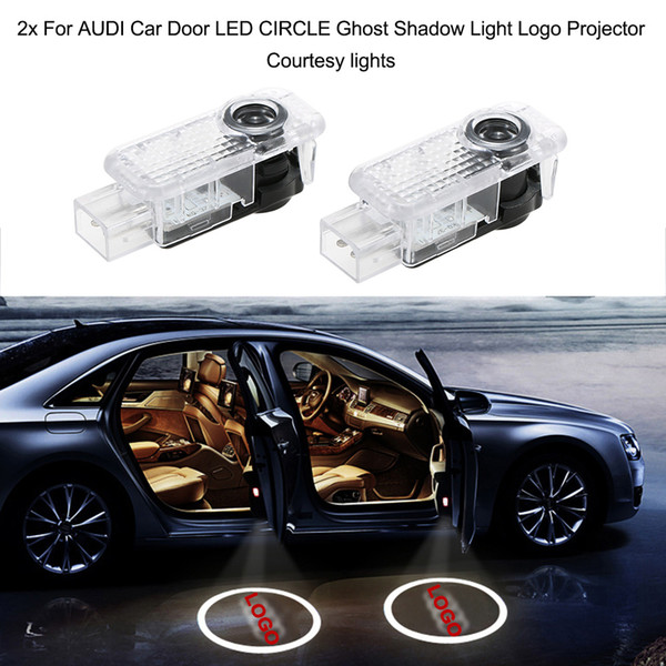 Freeshipping 2x For AUDI Car Door LED CIRCLE Ghost Shadow Light Logo Projector Courtesy lights