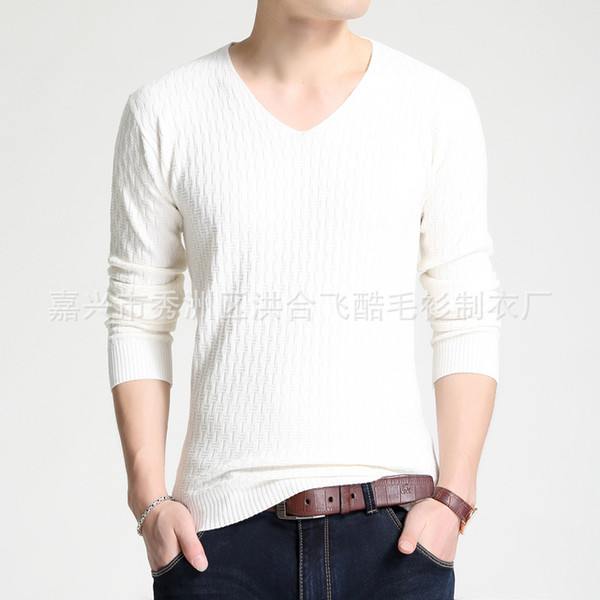 Manufacturers selling fall 2019 new men sweater v-neck pure color joker cultivate one's morality men's sweaters