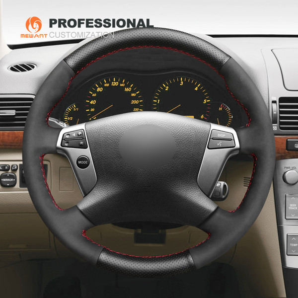 MEWANT Black Genuine Leather Suede Hand Sew Car Steering Wheel Cover for Toyota Avensis 2003 2004 2005 2006 2007