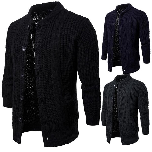 Spring 2019 New Kind of Men's Pure-colour Knitted cardigan and sweater jacket YM020