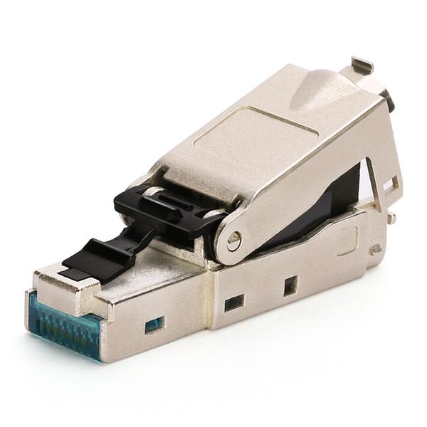 BELNET CAT7 FTP Plug RJ45 conector modular de blindagem completa para CAT7 CAT6A cabo ethernet adaptador de cabo de rede 8P8C com tampas de inicialização