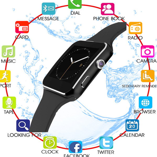 X6 Touch Screen Smart Watch with Camera Smart Watch Men Support SIM TF Bluetooth Smartwatch Lift Waterproof for iphone