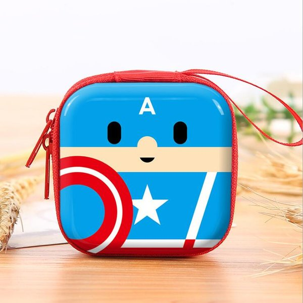 Encantador de dibujos animados de silicona Monedero Anime Superhéroe Capitán América Auriculares Bolsas de almacenamiento de claves EVA Cajas de cremallera Carteras