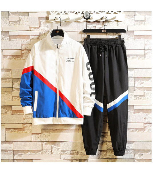 Mens Womens Fashion Designer tute di marca nero Jacket + Pant Set di lusso casuale della molla Tute Top Quality Kit Drop Shipping M-3XL B101305Q