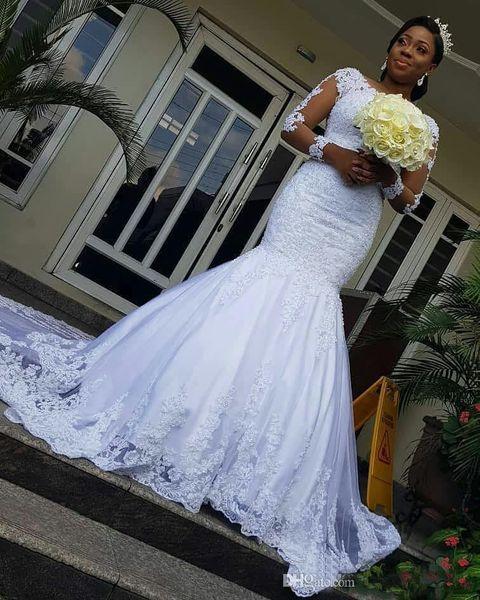 Vintage dentelle sirène robes de mariée 2019 Nouveau design Cour Applique train Illusion à manches longues Robes de mariée africains Robe de Novia W857