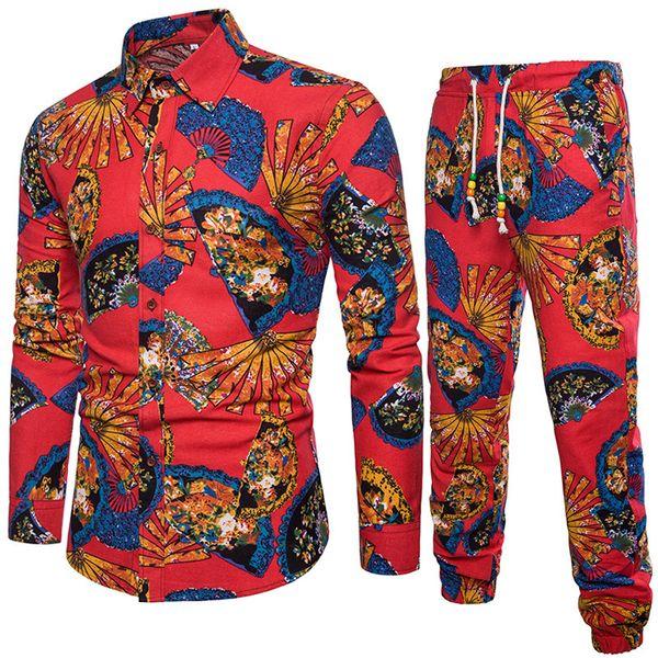 Moda-2018 Primavera y verano Nuevos juegos de hombres Camisa con pantalones Moda Ocio Traje Encuadre de cuerpo entero Diseño de abanico impreso Lino 5XL