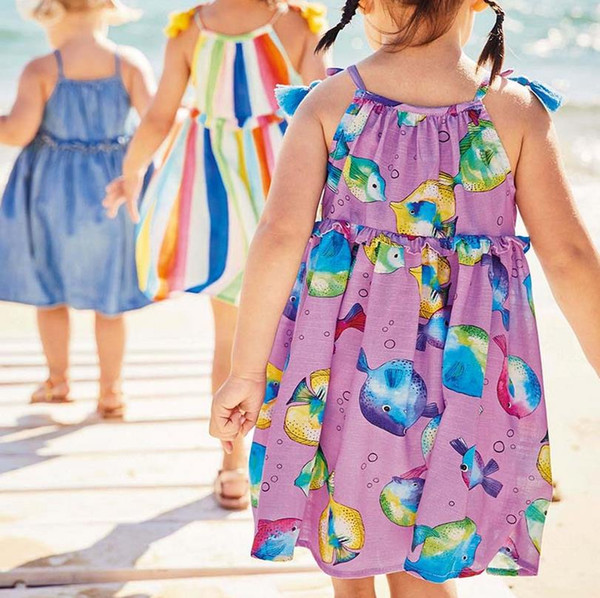 2019 New sea dresses for girls 2-7years Party costumes for kids girl clothing dresses baby clothing Made In China Mixed Sizes Wholesale