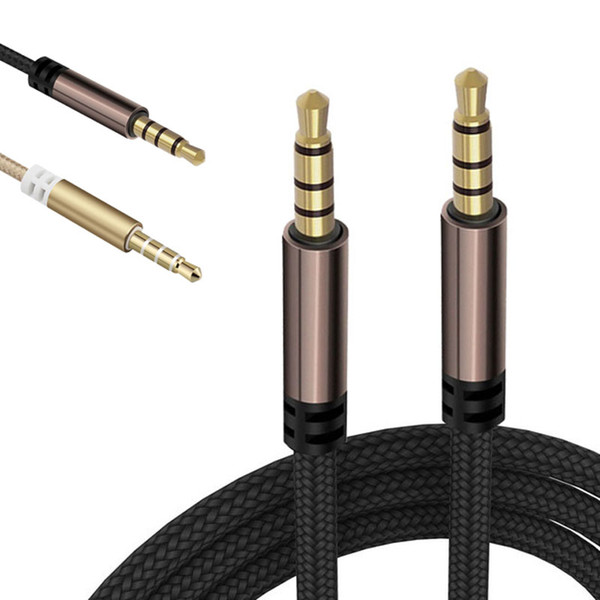 best selling Aux Cable 4-Pole Nylon Braid Headphone Audio Cables 1M 2M 3.5MM Jack for Samsung Huawei Xiaomi Smartphones Computer Speaker Headset Car
