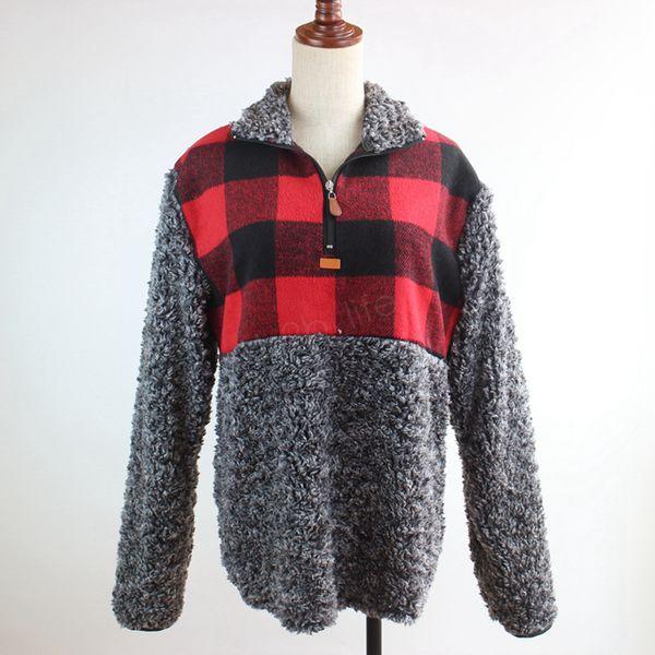 top popular Women Patchwork Pullover Long Sleeve Zipper Sherpa pullover Sweatshirt Soft Fleece plaid Outwear with Pockets Tops Hoodie coat LJJA2891 2020