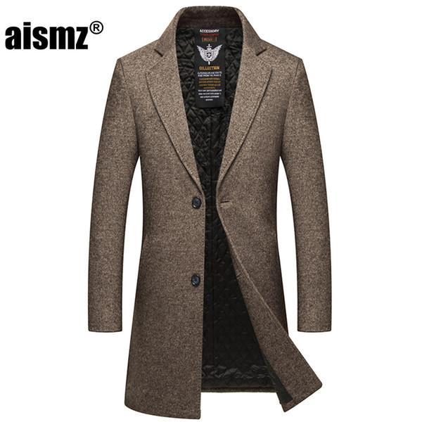 Aismz Yeni Kış Uzun Erkekler Tek Breasted Yün Palto Erkek Kalın Sıcak İş Casual Ceketler Trençkot casaco masculino