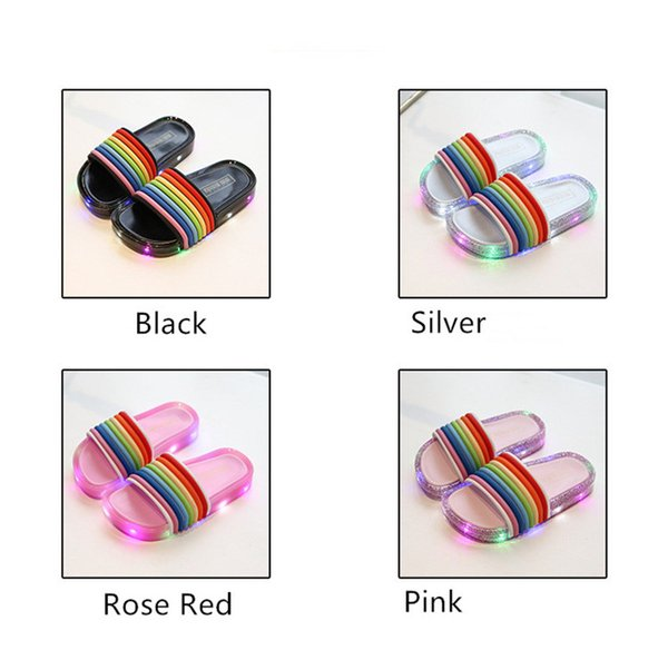 Baby Boys Girls LED Slippers Rainbow Color Summer Boys Girls Luminous Sandals Child Kids Designer with LED Light Beach Bath Home Shoes A5801