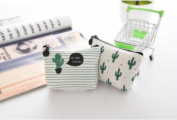 3 styles Baby Boys Girl Zipper Coin Purses Mini Print Striped Wallet Kids Cute Cactus Pattern Canvas Bags