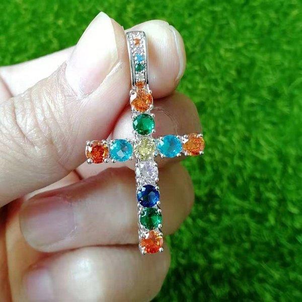 Silver Cross colorato + 60 centimetri a catena intrecciato