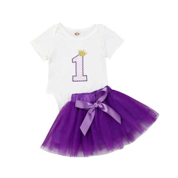 Fashion Kid Clothes Sets Newborn Infant Baby Girl Short Sleeve Bodysuits Jumpsuit Top+ Tulle Tutu Skirt Kids Clothes Outfit Set