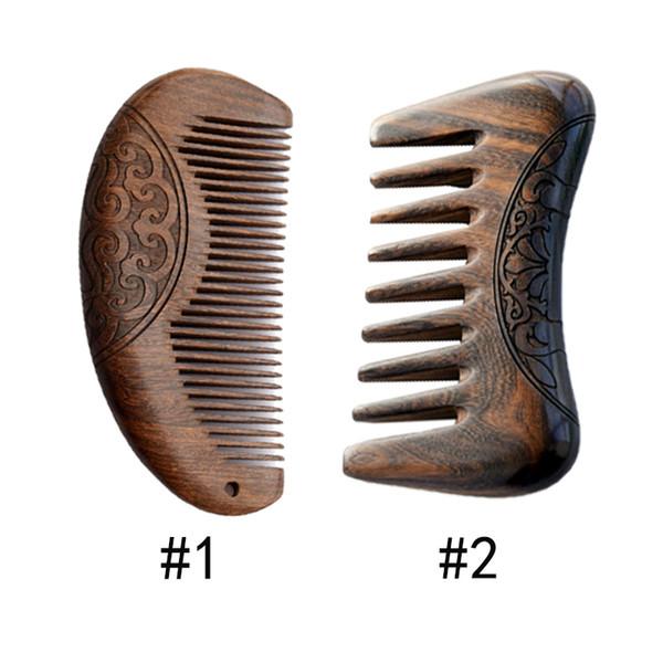 Peigne en bois de poche Peigne en bois de santal Or noir Bois Naturel Super dents étroites sans poux statique Peigne à cheveux sculpté sur les deux faces