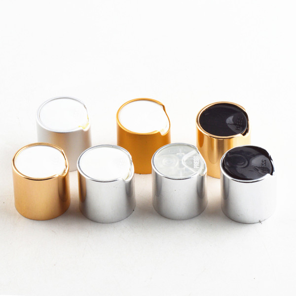 top popular R24 Plastic Caps White Silver Natural Polypro Gold Metalized Smooth Disc Top Caps for 20mm 24mm neck Plastic bottles lid 2021